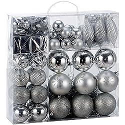 Deuba Weihnachtskugeln Silber | 103 Christbaumschmuck Aufhänger | Christbaumkugeln für den Weihnachtsbaum | Weihnachtsbaumschmuck