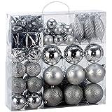 Palline di Natale Albero Cuori Stivali stelle, argento, 103pcs