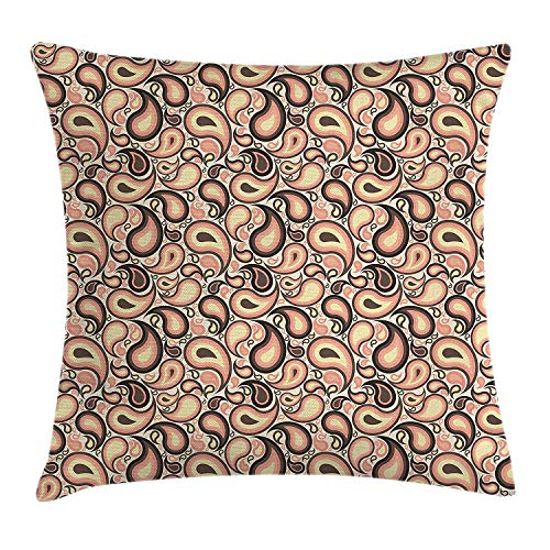 Paisley Decor Throw Pillow Cushion Cover, Abstract Motifs with Ethnic Design and Modern Artwork Raindrop Shape, Decorative Square Accent Pillow Case, 18 X 18 Inches, Peach Brown Cream