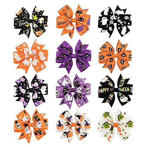 Cosanter 12 Stück Halloween Kinder Bogen Haarspange Haarschmuck Farbmisch Verpackungen 8x4,6 cm Geschenk für Mädchen