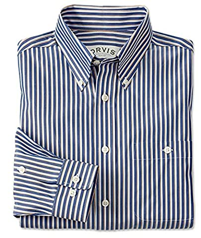 Orvis Pure Cotton Wrinkle-free Pinpoint Oxford Shirt, Blue Stripe, Xx