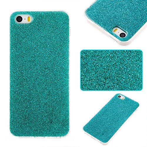 GR TPU Gel Cover Case [Anti-Kratzer] Glänzender Glitzer 360 ° voller Coverage Back Cover [Shockproof] für iPhone 5s & SE ( Color : Rose ) Green