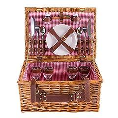 Idea Regalo - Cestino da picnic completo di articoli per la tavola in porcellana 4 persone cesto di vimini cestino da picnic salice in legno cestino da picnic in vimini set da picnic (LYP1801, rosso)