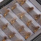 Lot de 40Pcs Mouches Artificielles Leurres de Pêche Crochets de Capture - d'Or
