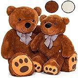 KIDUKU XXL Teddybär | 120 cm | Braun | mit Schleife | Weiche Füllung | Kuscheltier Kuschelbär Plüschbär Stofftier