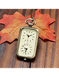 Classical Rectangle 2 Clock Design Bronze Fob Necklace Pendant Pocket Watch 2 Time Zone Gift For Pilots Flight...