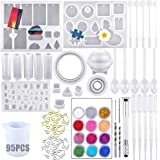 95 pezzi Resina Stampi Silicon Gioielli, Stampo Artigianato Silicone e Set di Strumenti, Resina Casting Kit Silicone per Orec