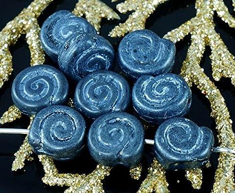 Matte Argent Noir Verre tchèque Coquillage, Perles de Verre Ammonite Fossile Spirale Nautilus 9mm x 4mm 16pcs