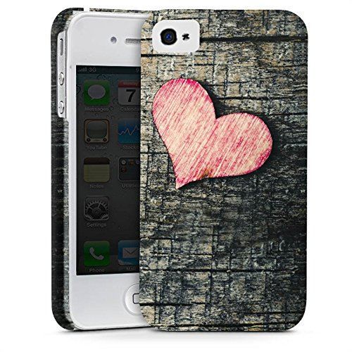 Apple iPhone X Silikon Hülle Case Schutzhülle Herz Love Holz Wood Premium Case glänzend