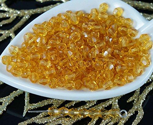 Topas Gelb Klar Tschechische Glas-Facted Bicone Perlen Feuer-Poliert Pyramide Spacer 4mm 5g etwa 70pcs - Feuer Glasperlen Tschechische Polnischen 4mm