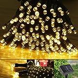 Gearmax® Solar Luces de Navidad 17m 100 LED solares luces de hadas de Cuerda para al aire libre,jardínes, hogares, boda, fiesta de Navidad, a prueba de agua (Cálida Blanco)