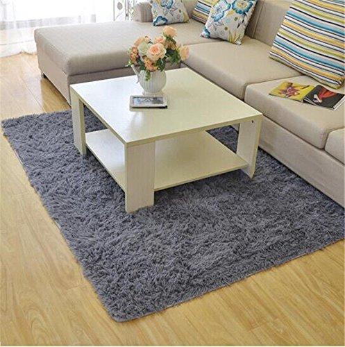 Preisvergleich Produktbild 80 cm x 120 cm weiche flauschige Teppiche Shaggy Mat Rutschfeste Teppich boden Home Teppich, Grau