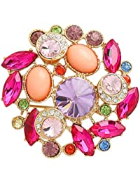 Prystal Multi Colour Fusion Latest Trendy Fusion Fashionable Brooch Pin