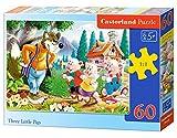Puzzle 60 pièces - Les 3 petits cochons- Dimensions du puzzle assemblé : 32.00 x 23.00 cm
