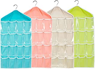 Krevia Washable 16 Grids Pouch Clothes Sock Underwear Bra Hanging Storage Bag Organizer