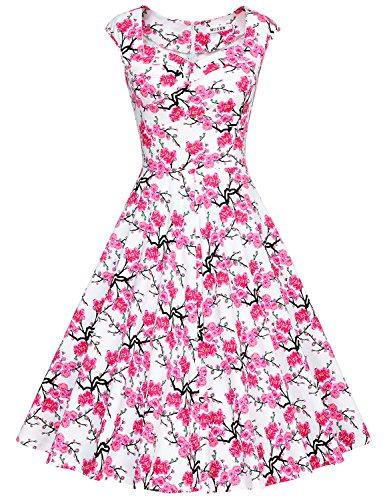 MUXXN Rétro robe de soirée de cocktail de années 1950 de femme du style d'Audrey Hepburn Pink Cherry