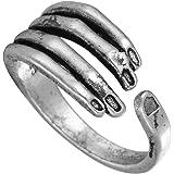 Chengxun للجنسين الفولاذ المقاوم للصدأ خواتم خمر الأسود القوطي الرجال قابل للتعديل الفضة