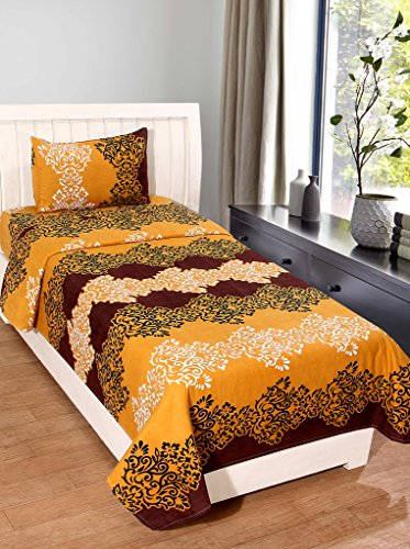 Homefab India 140 TC Polycotton Single Bedsheet with Pillow Cover - Modern,...