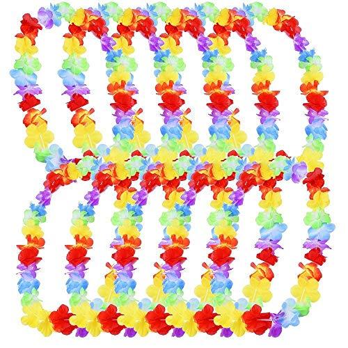 �ck Hawaiian Blumenkette Tropisch Halskette mit Blumen Mehrfarbig Blumenketten Hawaiikette Halskette für Kleid Party Strand 100CM ()