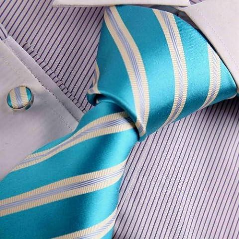 A8046 Lumi¨¨re Sea Green Hommes Stripes en soie cravate Set 2PT par Y&G