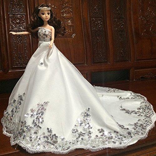 Sitz Auto Im Kostüm Mann (Zantec Wunderschöne Sequined Hochzeit Brautkleid Prinzessin Kleid Abendkleid Puppe Kleidung Outfit für 12