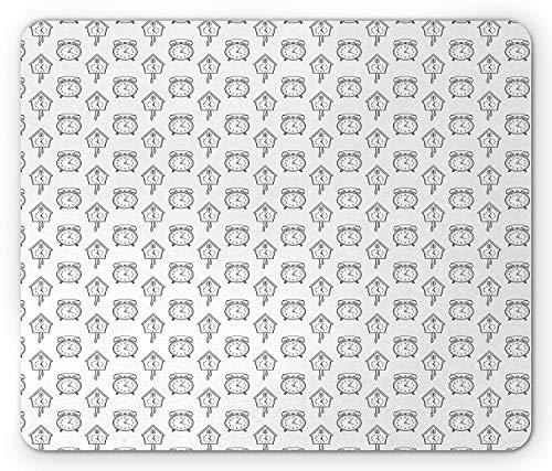 Cuckoo Clock Parts (Clock Mouse Pad, Hand Drawn Monochrome Alarm and Cuckoo Clock Design Coloring Book Style Illustration, Standard Size Rectangle Non-Slip Rubber Mousepad, Black White)
