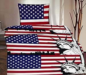 2-Teilig Microfaser Bettwäsche Set USA Flagge mit Reißverschluss 1x 135x200 Bettbezug + 1x 80x80 Kissenbezug , Öko-Tex Standart 100