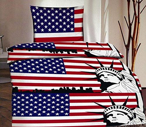 2-Teilig Microfaser Bettwäsche Set USA Flagge mit Reißverschluss 1x 155x220 Bettbezug + 1x 80x80 Kissenbezug , Öko-Tex Standart 100