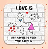 Love Is Not Having To Hold Your Farts In - Funny, Rude Character Drinks Coaster, Valentine's Day Gift For Him Or Her
