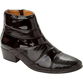 3d54dc19408 Mens Black Patent Smart Italian Dress Cuban Heel Boots Gents Formal Shoes  Size