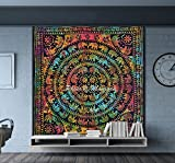 Best Cotton Craft Picnic Blankets - Maniona Crafts Multi Color Handmade Elephant Mandala Tapestry Review