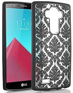 LG G4 Case - Vena URBAN Design Slim Fit Cover Hybrid Case for LG G4 (Leather Back Compatible) (DAMASK Black)