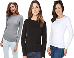 Avaatar Women's Cotton Full Sleeve T-Shirt - Pack of 3