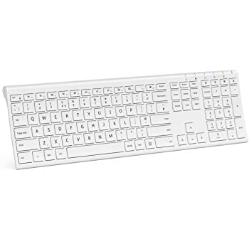 35f5265555c Wireless Rechargeable Keyboard, Jelly Comb KUS-015D Full Size 2.4G Wireless  Keyboard Ultra Slim UK Layout, White