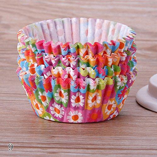 rungao 100Backförmchen/Cupcake-Papier/Cupcake Liners Blume Muster Fall Hochzeit Wrapper Muffin Cupcake Müllbeutel 9 - Cupcake-liner Blumen
