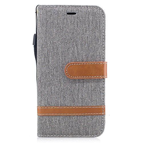Coque iPhone X, Voguecase Coque de Protection en PU Cuir Support Flip Housse Étui Cover Case avec Porte-Cartes pour Apple iPhone X (2017) (toile de jean-vert foncé) + Gratuit Stylet à Aléatoire toile de jean-gris
