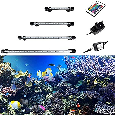 GreenSun Aquarium Light RGB Remote Colour Changing LED Fish Tank Light Underwater Submersible Crystal Glass Lighting Air Curtain Light - inexpensive UK light store.