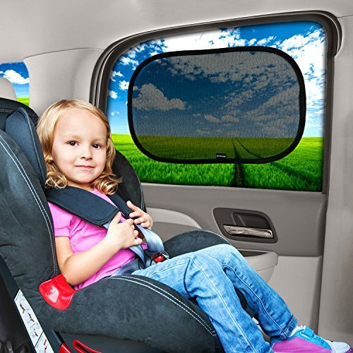 Car Sun Shade (2 Pack) – Premium Baby Car Window Shades are best for blocking over 97% of Harmful UV Rays while protecting your child from sunlight and