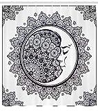 Abakuhaus Duschvorhang, Halbmond Mandala Symbol Muster Kultur Mond Déco Design Digitales Druck Muster Schwarz-Weiß, Wasser und Blickdicht aus Stoff mit 12 Ringen Schimmel Resistent, 175 X 200 cm