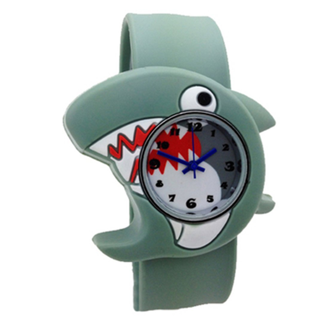 Mixe Kids Boys Girls Cartoon Bendable Rubber Strap Slap Watch Easy-to-fasten Clap on Hand Watch Gift Birthday Xmas (Shark)