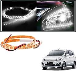 2 Pc. Vheelocityin 45 cm Waterproof Flexible Tube Strip Car Interior/ Exterior Light - White For Maruti Suzuki Ertiga