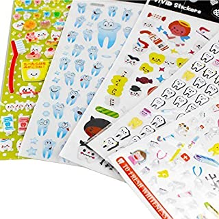 Airgoesin 5-Sheet Molar Shaped Cartoon Tooth Paper Stickers Label Dentist Dental Gift by airgoesin