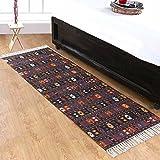 Homescapes Bedruckter Kelim Teppich Orient 66 x 200 cm Küchenläufer mit Fransen 100% Baumwolle