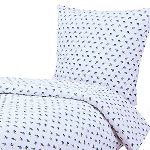 Hans-Textil-Shop Seersucker Bettwäsche, 135x200 80x80 cm, Rosen, Blumen, Hotelverschluss, Baumwolle, bügelfrei | Blau