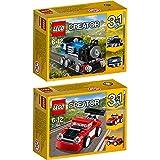 Lego Creator 3-in-1 2er Set 31054 31055 Blauer Schnellzug + Roter Rennwagen