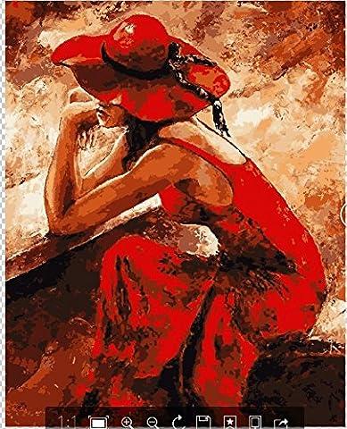 Obella Peinture par numéros Kits issu de la gamme de Lonely Robe Rouge Fille 50x 40cm issu de la gamme Peinture par numéros numériques, peinture à l'huile, sans cadre
