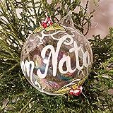 Decodaniela - Pallina di Natale in vetro dipinta a mano e personalizzata con nome