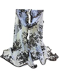 d4c952dd0 erthome Women Lady Floral Printing Lace Scarf Long Soft Wrap Shawl Stole  Pashmina