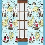 Vorhänge mit Piraten-Motiven, 168 x 182 cm, Schatzsuche-Design