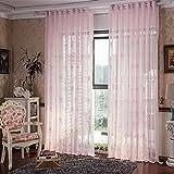 Luxus Rose Vorhänge für Wohnzimmer Schlafzimmer Küche Fenster Behandlungen Tüll schiere Vorhänge fertig Raum Vorhänge 100x200cm (40x80-Zoll) -1 Stück , pink
